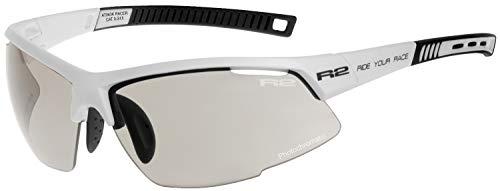 R2 Sportsonnenbrille RACER weiß mit selbsttönenden Brillengläsern