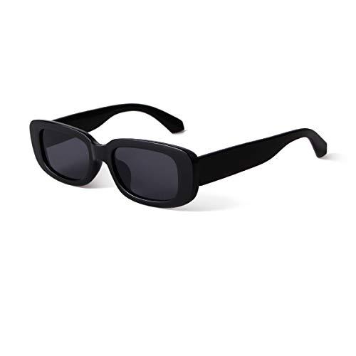 YOJUED Vintage rechteckige Sonnenbrille für Damen und Herren, modische Retro-Brille mit quadratischem Rahmen, Brille mit UV400-Schutz Gr. M, Schwarz