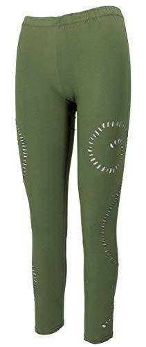 Guru-Shop, Psytrance Goa Dames Legging, Yoga Legging, Olijfgroen, Size:M/L (12), Shorts en 3/4 Broeken, Leggings
