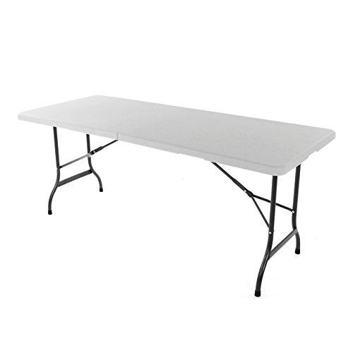 Klapptisch 180 x 75 x 74cm weiß Partytisch Gartentisch klappbar Campingtisch bis 170 kg stabil robust wetterfest 13 kg Tragegriff Koffertisch