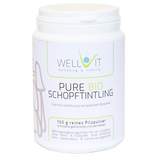 Pure Bio Schopftintling 100g Coprinus comatus Vitalpilzpulver aus EU-Bio-Landwirtschaft, vegan, ohne künstliche Zusatzstoffe