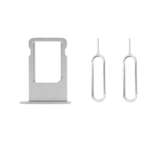 Replacement Sim Card Tray Holder Slot Bracket with 2 Eject Pins for iPhone 6 4.7  Silver