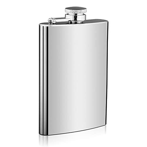 BNMY 8 oz whisky frascos para licor para hombres frasco de regalo para los novios, 304 18/8 frasco de acero inoxidable, plata