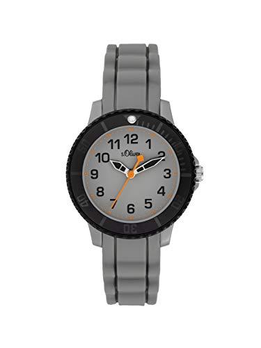 s.Oliver Jungen Analog Quarz Uhr mit Silikon Armband SO-3918-PQ