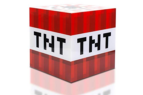 Minecraft TNT Block 6 Inch USB LED Night Light Cube - Decorative, Fun, Safe & Awesome Bedside Mood Lamp Toy for Baby, Kids, Teens & Adults - Best for Home's Bedroom, Living Room Or Even Office
