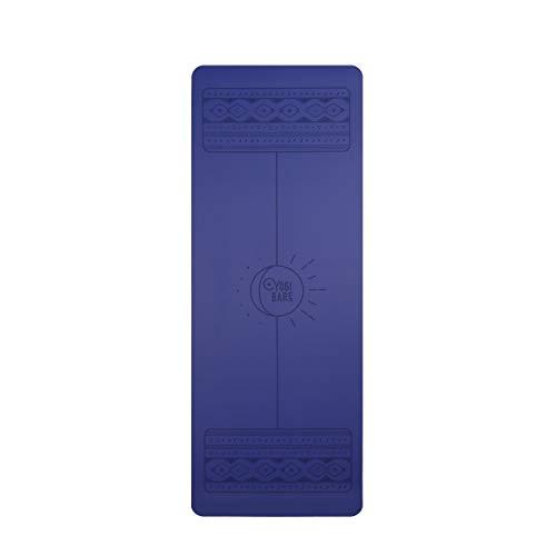 Yogi-Bare Lunar Paws - Esterilla de Yoga de Agarre Supremo - Caucho Natural con guías para la Correcta alineación del Cuerpo - Ocean Azul