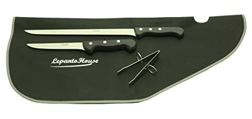 Set cuchillo jamonero 43,5 cm, cuchillo deshuesador 29 cm, pinzas y cubre jamón, juego de cuchillos semi-profesional acero inoxidable, LepantoHouse