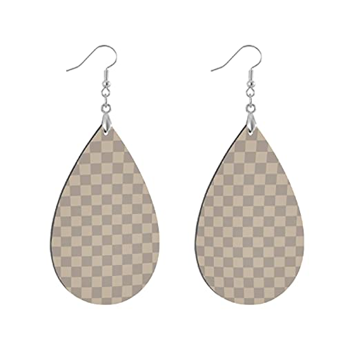 Pendientes de madera de moda gota colgantes ligeros lágrima pendientes forma gota pendiente para las mujeres joyería JP perla gris y gris pardo tablero de ajedrez