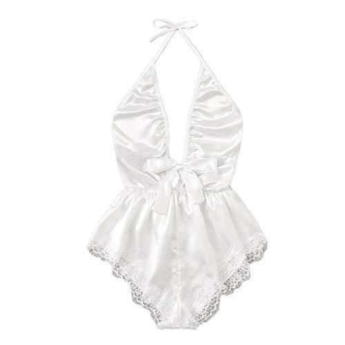 LATINDAY Women Lingerie Satin Bodysuit Teddy Babydoll One Piece Halter Pajamas Deep V Jumpsuit Short Nightwear White