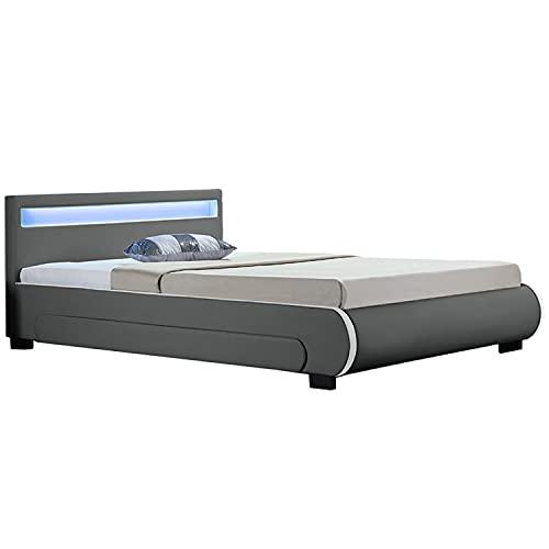 Juskys Polsterbett Bilbao 140x200 cm grau mit Bettkasten, Led-Beleuchtung & Lattenrost, Bett aus Holz & Bezug aus Kunstleder Bettgestell