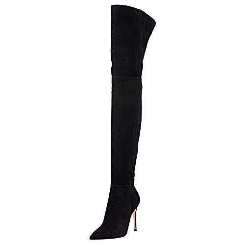 Lutalica W Damen Spitze Elastisch Wildleder Sexy Slouchy Stiletto Oberschenkel hoch über dem Knie Stiefel Schwarz Größe 38