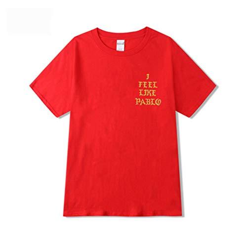 Yuandian Herren/Damen Mode Kurze Ärmel Rundhalsausschnitt Brief T-Shirt Liebhaber Loses Wild Tops Mit I Feel Like Pablo Drucken Rot M