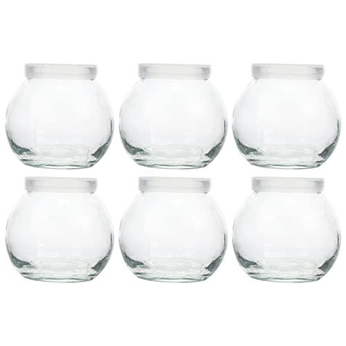 Lurrose 6 barattoli di vetro trasparenti per yogurt e budino in vetro, piccoli contenitori di vetro, barattoli per spezie e caramelle, per la cucina