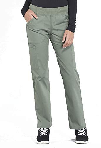 Cherokee Workwear Professionals Mid Rise Straight Leg Pull-on Cargo Scrub Pant, XS Petite, Olive