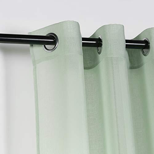 PimpamTex - Cortina Decorativa Translucida con 8 Ollaos Metálicos, Visillos para Salón o Dormitorio, Moderna y Original Variedad de Colores, Modelo Molly (140 x 280 cm, Verde Tiffany)