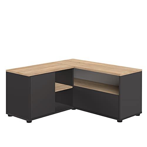 TemaHome Mueble de TV Angular 90, 90 x 90 x 45 cm, Negro y Roble, 90x90x45 cm
