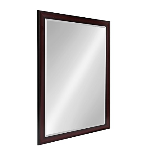 Kate and Laurel Scoop Framed Beveled Wall Mirror Cherry 28x40 Black