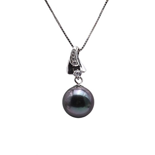 JYX Exquisite 9-10mm Black Tahitian Pearl Pendant in argento sterling 925
