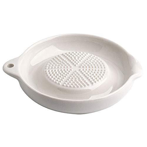 CROWNXZQ 3 Rallador de cerámica avanzado, Mediano para Jengibre, ajo, Porcelana, utensilio, Cuchara, Reposo, Plato, Cebolla, Queso, limón, Chocolate, Verduras, Frutas, Cocina, Color Blanco