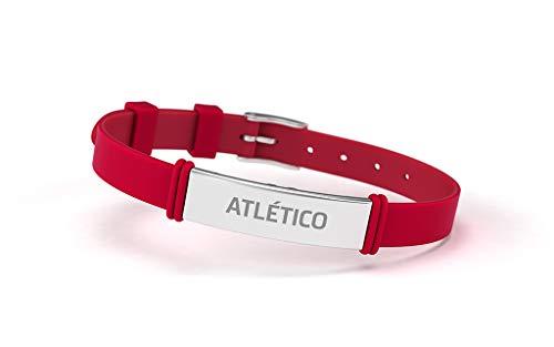 Atlético de Madrid Pulsera Fashion Roja Ajustable para Hombre, Mujer y Niño | Pulsera de Silicona y Acero Inoxidable | Apoya Producto Oficial Colchonero | ATM