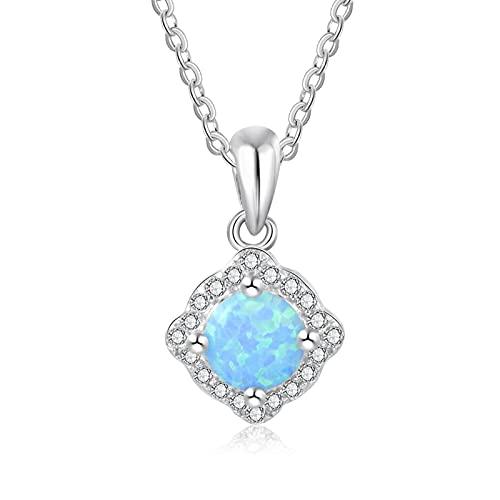 SALAN Collares con Colgante De Ópalo Azul De Plata De Ley 925 para Mujer, Collares De Eslabones De Cadena De Circonita Cúbica, Joyería De Plata 925