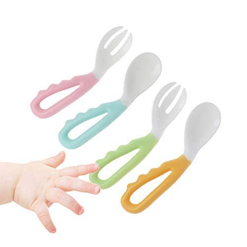 cholinchin 4 Stück Temperaturempfindlich Einfach zu halten Baby Löffel und Gabel Set mit Gebogen Griff Weich Lernen Besteck für Dose Baby Kleinkinder Lernen zu Essen BPA frei