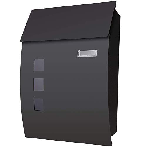 Voluker Buzón correos exterior,45x 10 x 32 cm,Buzón de exterior,Buzón exterior acero inoxidable,Negro