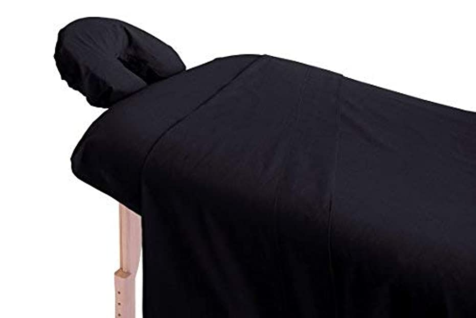 主流普及オーストラリアLondon Linens Polycotton Massage Sheet set (Black) [並行輸入品]