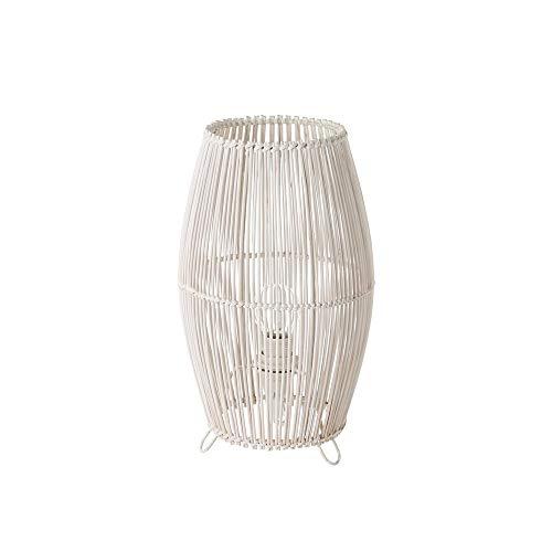 Lámpara de mesa de cañas exótica de bambú y metal blanca