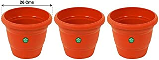 Trust basket UV Treated Plastic Round Pot (10 Inches) -Terracotta Color -Set of 3