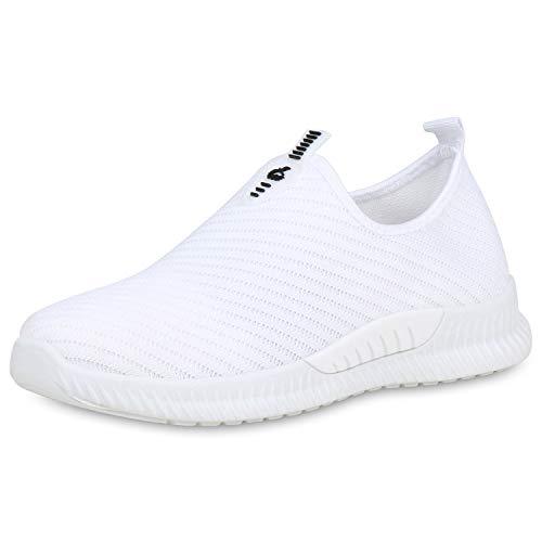 SCARPE VITA Damen Sportschuhe Slip On Sneaker Fitness Schuhe Strick Gym Laufschuhe 191546 Weiss Strick 38