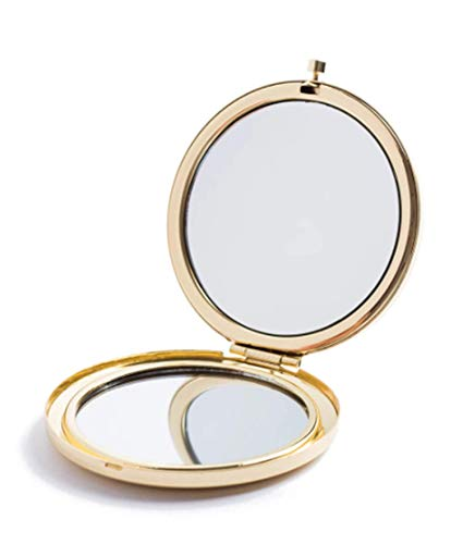 Magnifying Compact Mirror for Purses with 2 x 1x Magnification,HREW Folding Mini Pocket Double Sided Travel Makeup Mirror,Perfect for Purse, Pocket and Travel,Gold