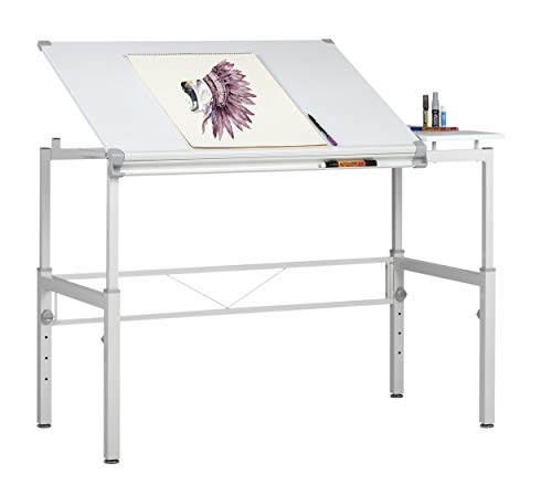 "STUDIO DESIGNS Graphix II Workstation, 53.75""W x 31.25""D x 27"" - 38.75""H White/Gray 10210"