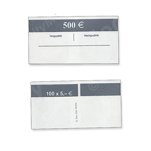 Banderolen für Euro Geldscheine je 50x (5 € Banderole) Geldbanderole Papier für Geldbündel Fassungsvermögen je 100 Scheine