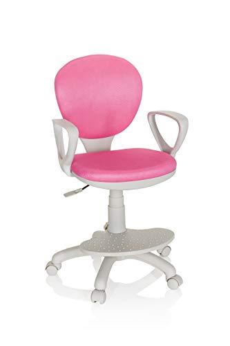 hjh OFFICE 671012 Kinderdrehstuhl Kid Colour G1 Stoff Pink/Grau Bürostuhl Kinder, Fußablage & Sitzfläche höhenverstellbar