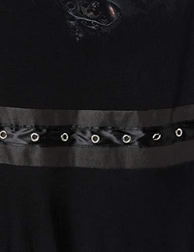 Spiral Direct Women's Steam Punk Ripped-Stud Waist Mini Dress, Black (Black 001), 16 (Size:L) steampunk buy now online