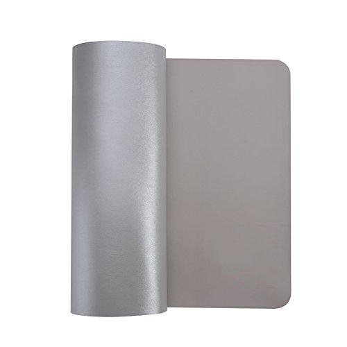 HTDirect - Alfombrilla de escritorio de piel sintética extendida, impermeable, con superficie lisa, tamaño pequeño, medio/grande, ideal para la oficina y el hogar (120 x 60 cm), color gris y plateado