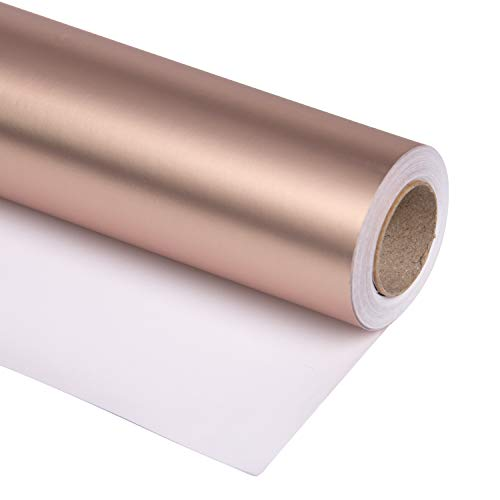 RUSPEPA Rose Gold Matte Wrapping Paper - 81.5 Sq Ft - Solid Color Paper Perfect for Wedding,Birthday,Christmas,Baby Show - 30 inches x 32.8 feet