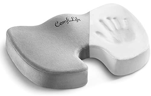 ComfiLife Premium Comfort Seat Cushion - Non-Slip Orthopedic 100% Memory Foam Coccyx Cushion for...