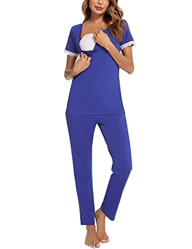 Aibrou Pijamas Lactancia Mujer, Ropa Maternidad de Manga Corta de Encaje Pijamas Maternidad Lactancia Hospital Pijamas Premamá Algodón Conjuntos Embarazadas para Casual Ultramarino M