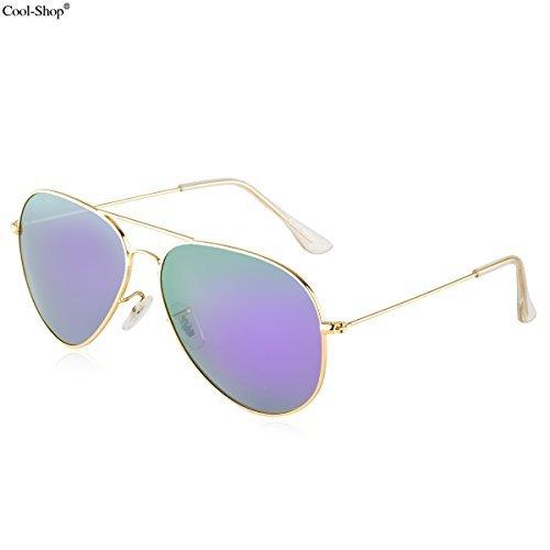 60480e0c5e2e Cool-ShopPremium Classic Metal Frame Full Mirrored Aviator Sunglasses,Aviator  Sunglasses (Glod-
