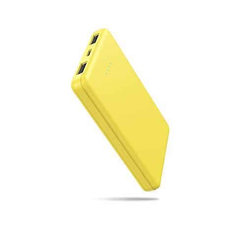 Powerbank 5000 mAh, pequeño y ligero, batería externa mini portátil, con cable, batería externa ligera para iPhone, Samsung, MP3, Huawei y smartphones (amarillo)