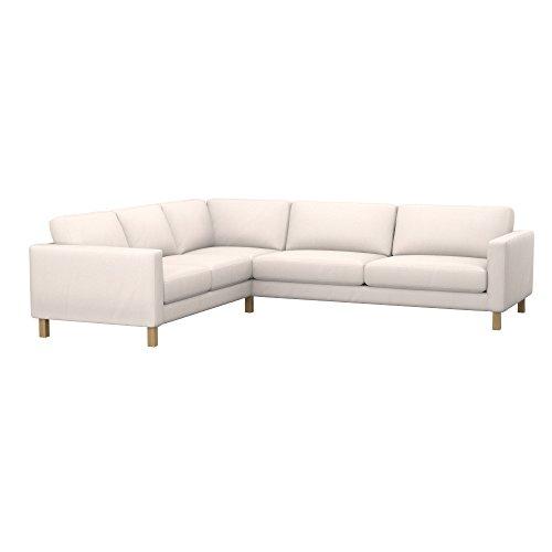Soferia Ersatzbezug fur IKEA KARLSTAD 3+2 / 2+3 Ecksofa, Stoff Eco Leather Creme, Ecru