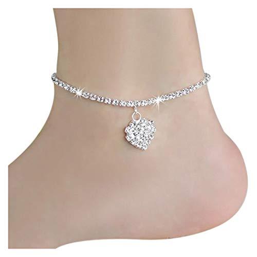 GSZP Tobillera de cristal con forma de corazón para mujer