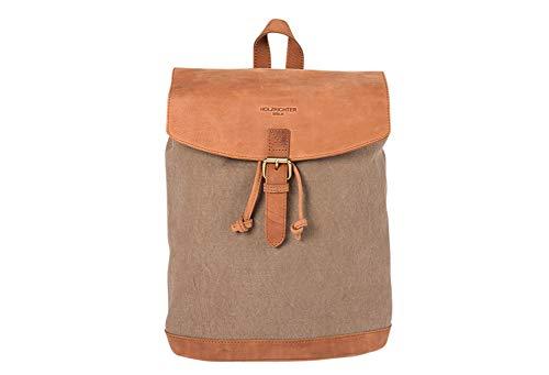 HOLZRICHTER Berlin Rucksack No 2-1 (M) Camel/beige - Daypack handgefertigt aus 20 oz starkem Canvas und Premium-Leder