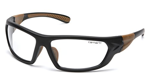 Carhartt Carbondale Safety Glasses with Clear Lens Black/Tan Frame, One...