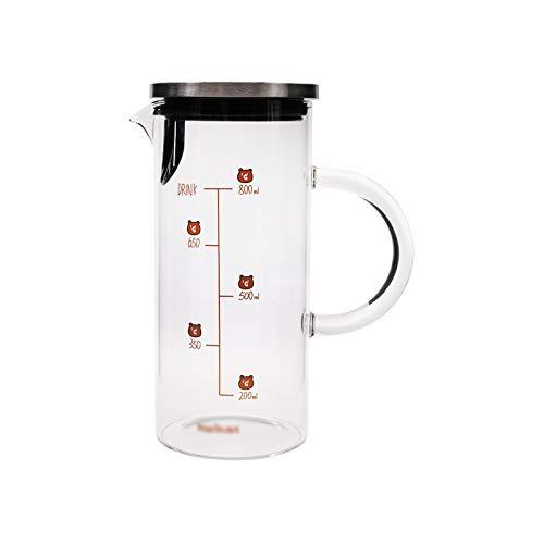 hkwshop Jarra de Agua Tetera de Vidrio Recta de la Jarra de Vidrio Lindo con Escala con Filtro de Acero Inoxidable para té de Jugo frío/Bebida caliente-1000ml Tetera para té Helado (Color : A)