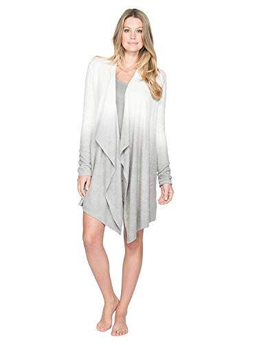 Barefoot Dreams Women's CozyChic Lite Calypso Wrap (Ombre Pewter/Black, Small / Medium)