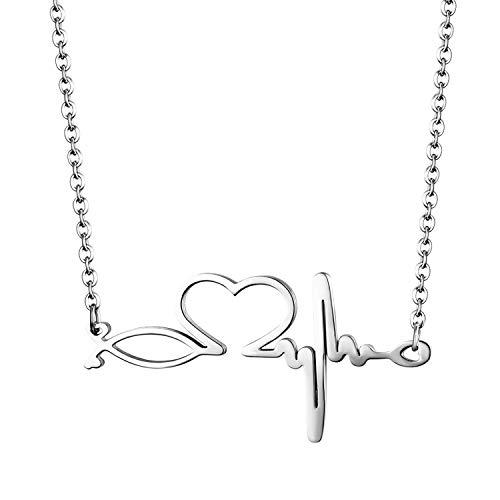 Cupimatch Herz Halskette Damen EKG Kette Krankenschwester Neutheit Schmuck für Frauen Mädchen 50cm, Silber