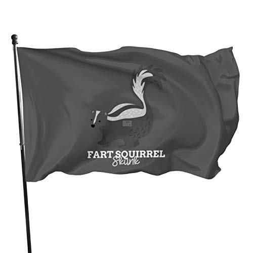Banderas con nombre de animal divertido y nombre de meme Fart ardilla Skunk, 0,9 x 1,5 m